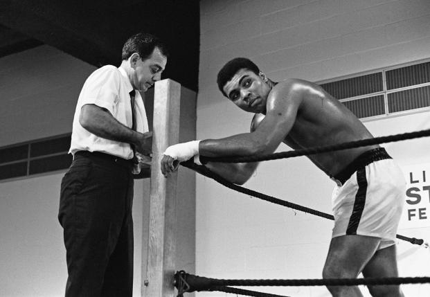 Muhammad Ali with his trainer Angelo Dundee ahead of his fight with Ernie Terrell at the Astrodome, Houston, February 1967.  Action Images / MSI
