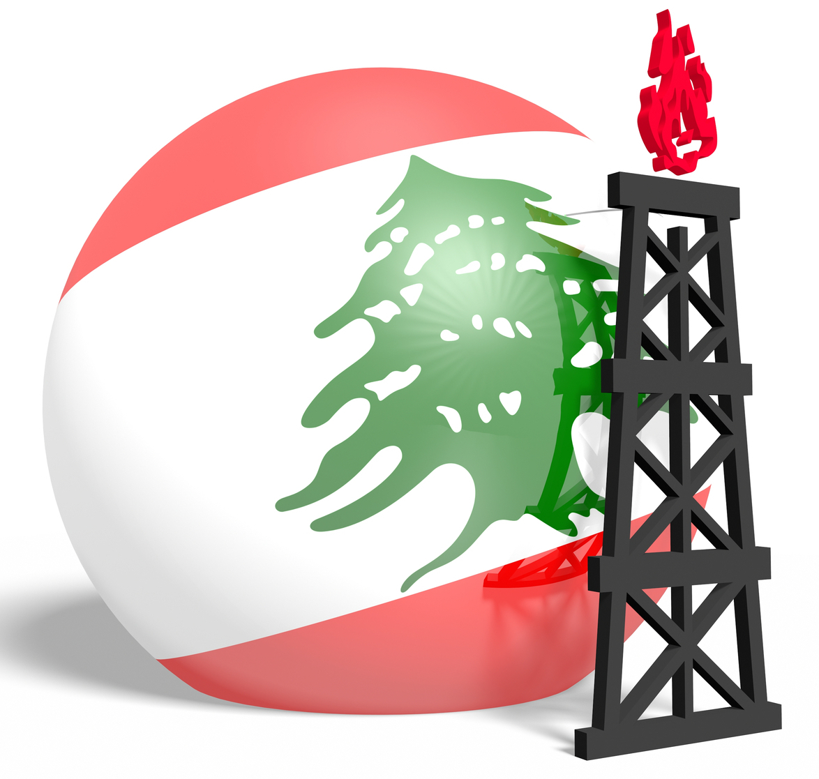 Reflected sphere with gas rig simple icon, textured by Lebanon flag. Heavy and mining industry concept. 3D rendering